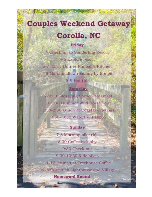 Corolla itinerary